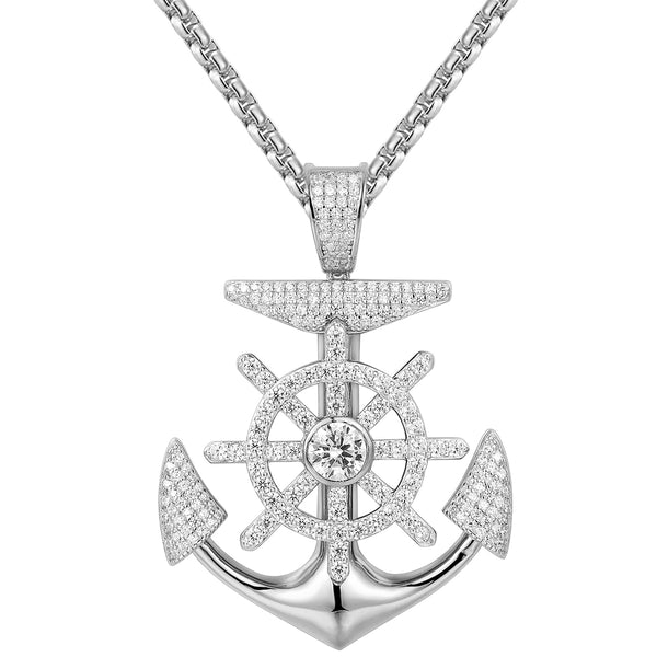 Iced Out Ship Wheel Anchor Sterling Silver Pendant Chain