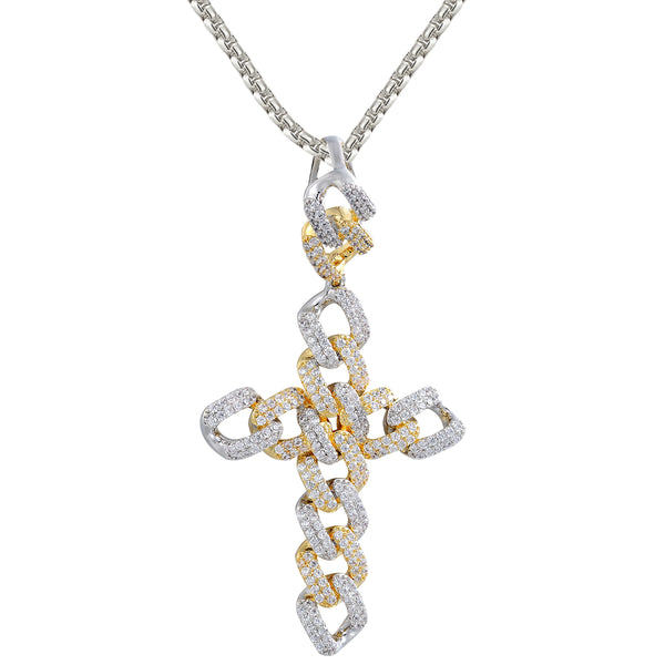 Silver Two-Tone Miami Cuban Cross Custom Iced Out Pendant