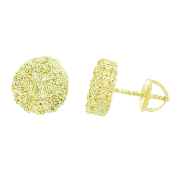 Round Cluster Set Earrings Canary Lab Diamonds Screw Back