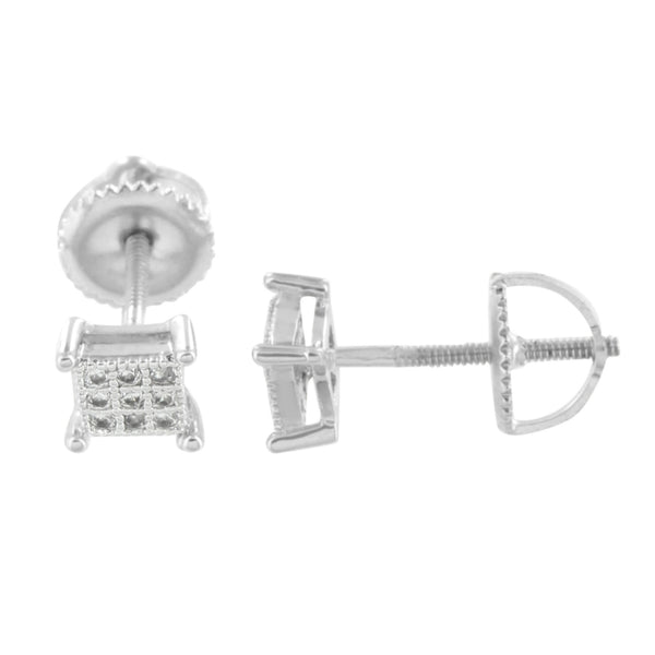 Square Earrings 5 MM Studs Rhodium Finish Screw Back Simulated Diamonds