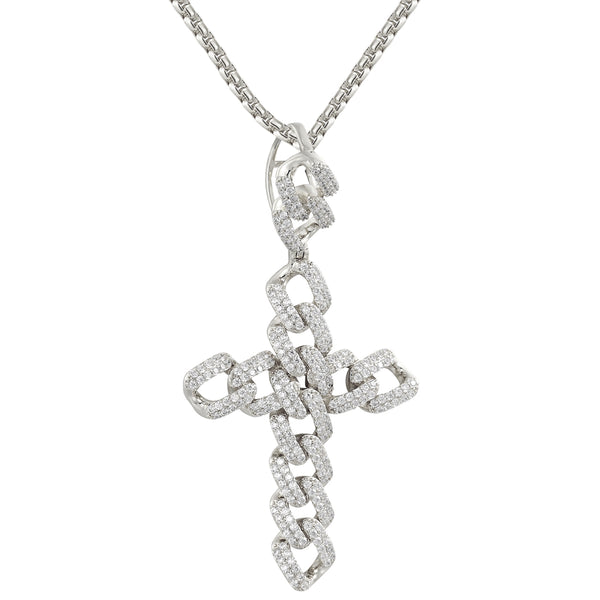 Men's Silver Miami Cuban Jesus Cross Iced Out Custom Pendant
