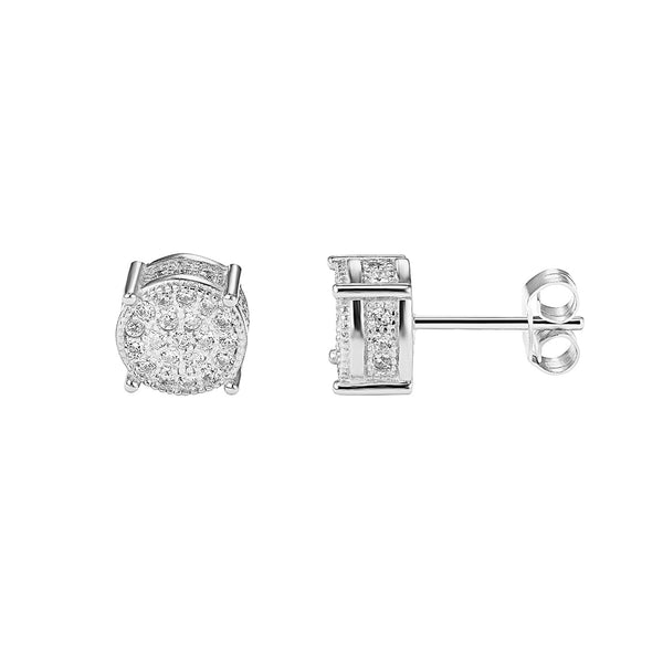 Sterling Silver Iced Out Cluster 14k white Gold Designer Earrings