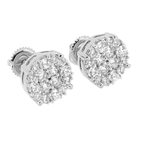 Cluster Set Earrings Hip Hop Iced Out Lab Diamonds Prong Set 14K White Gold Finish Screw On