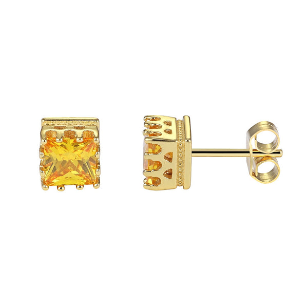 Designer Sterling Silver Bling Square Shape Canary Solitaire Earrings