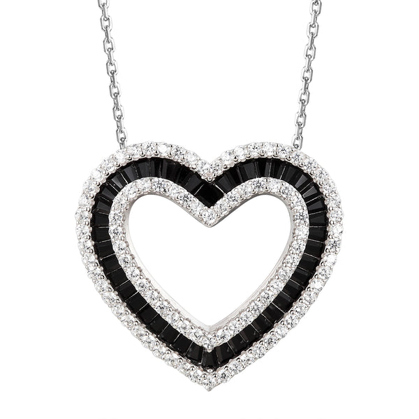 Black& White Double Heart Baguette Pendant Valentine's Set