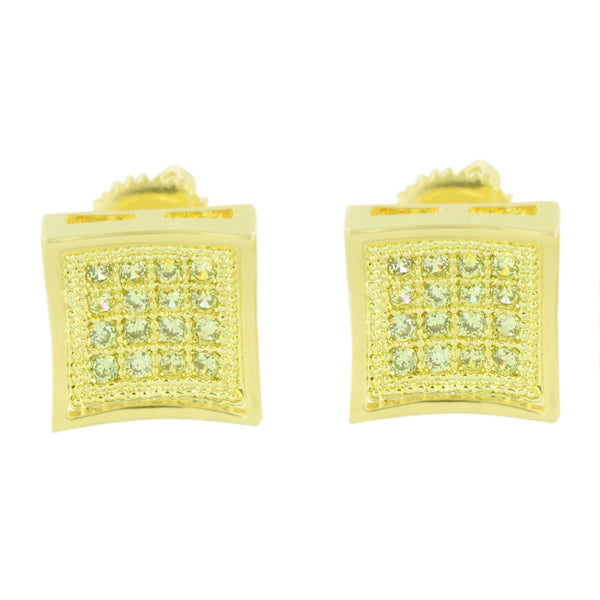 Gold Finish Earrings Studs Mens Ladies Canary Simulated Diamonds