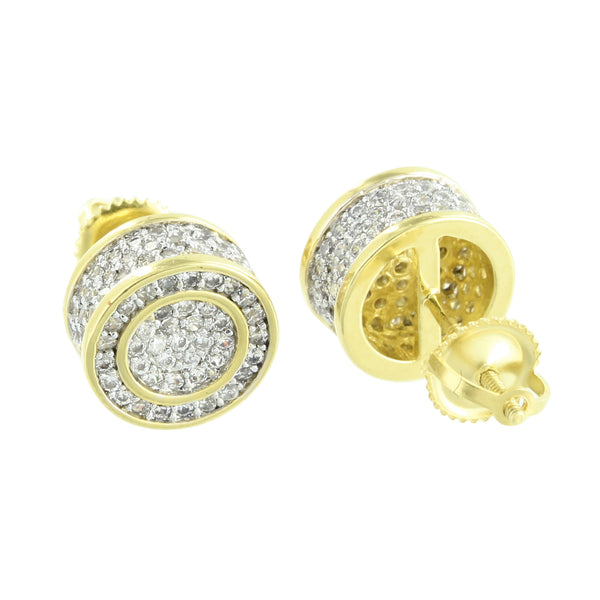 Lab Diamond Mens Earrings Drum Style Round Screw Back