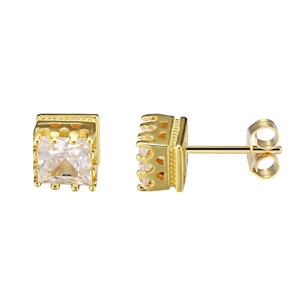 Bling 14k Gold Finish Sterling Silver Square Shape Prong Solitaire Earrings