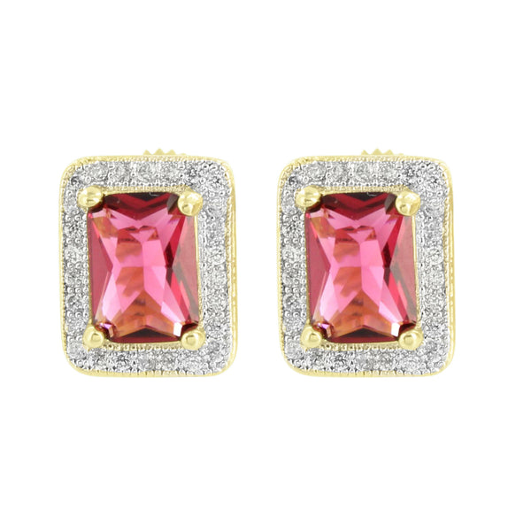 Garnet Red Ruby CZ Earrings Lab Diamonds 14K Yellow Gold Finish Screw Back