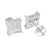 Mens Rhodium Finish Earrings Concave Simulated Diamond Screw On