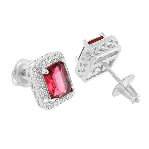 Ruby CZ Earrings Garnet Red Lab Diamonds 14K Finish Screw Back