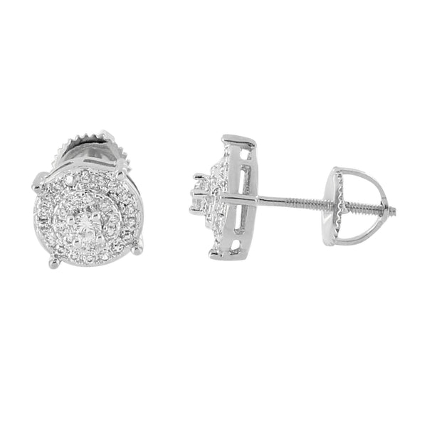 Hip Hop Earrings Iced Out Lab Diamonds Prong Set Solitaire Screw Back Studs 8mm Classy