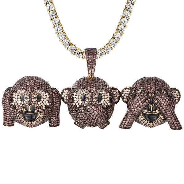 Gold Tone Three Wise Monkeys Icy Bling Hip Hop Pendant