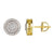 14k Gold Finish 3D Designer Iced out Silver Stud Earrings