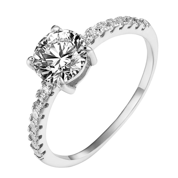 Solitaire Round Cut Engagement Ring Sterling Silver Wedding Ladies Cubic Zircon