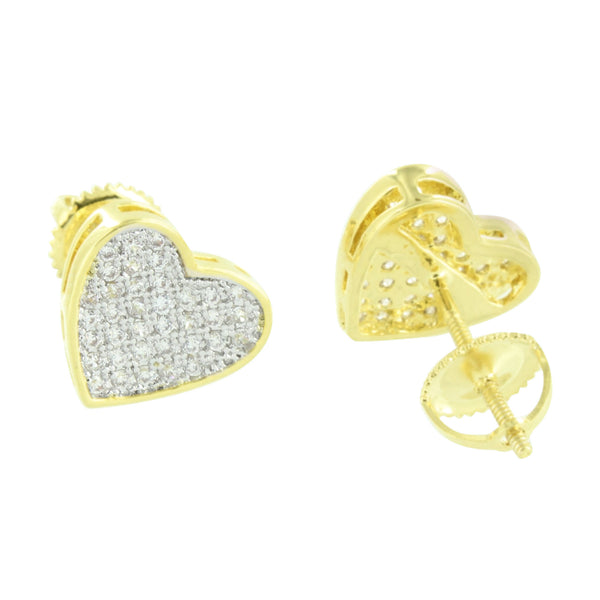 Gold Finish Heart Earrings Screw Back Pave Set Lab Created CZ
