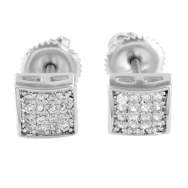 Mens Earrings 14k Finish Lab Diamonds Square Shape Screw Back 6 MM