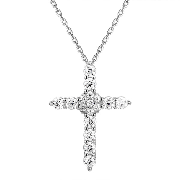 Cluster Set Sterling Silver Cross Pendant Necklace
