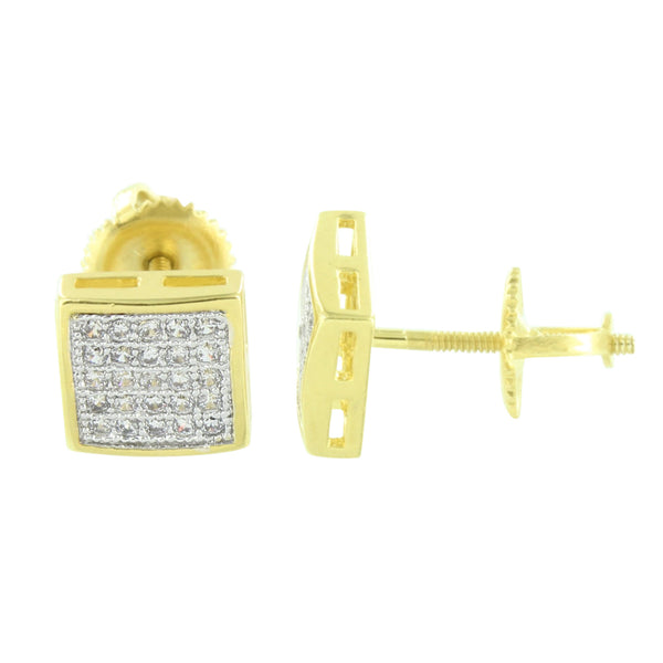 Gold Finish Square Earrings Screw Back Simulated Diamonds
