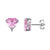 14k White Gold Finish Sterling Silver Elegant Pink Heart Solitaire Designer Earrings