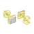 14k Gold Tone Earrings Lab Diamonds Screw Back Square Mens Womens 6 MM Classy