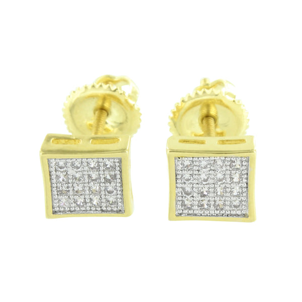 Square Design Earrings Screw On Studs Simulated Diamonds Pave Set