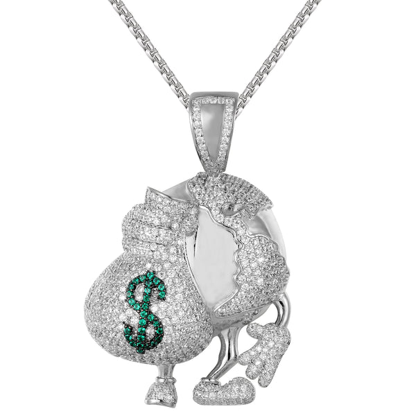 Silver Iced Out World Globe with Dollar Money Bag Custom Pendant