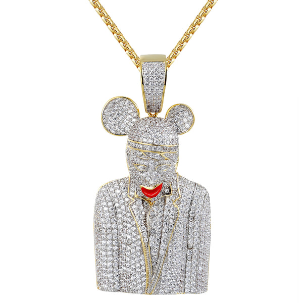 Silver Bling Character Rapper Hip Hop Custom Pendant Chain