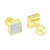 14k Gold Finish Earrings Lab Diamonds Micro Pave Screw Back