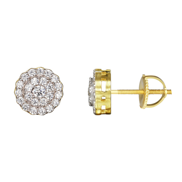 14k Gold Finish Solitaire Circle Screw Back Earrings