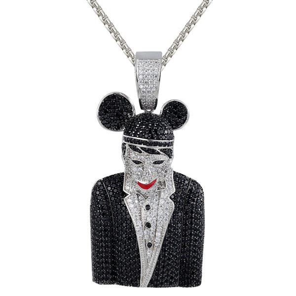 Men's Black Marilyn Manson 3D Rapper Iced Out Silver Pendant