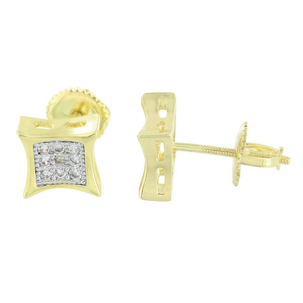 Kite Shape Gold Earrings 14K Finish Lab Diamonds Mens