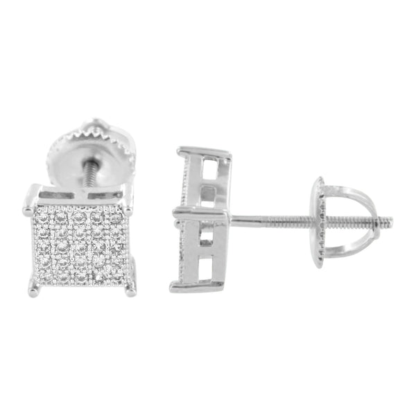 Silver Tone Earrings Simulated Diamonds Screw Back Pave Set