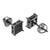 Black Finish Earrings Studs Screw On Black Simulated Diamonds Pave