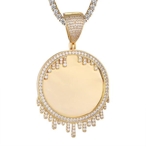 Gold Tone Dripping Picture Photo Circle Solitaire Memory Pendant