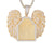 Custom Angel Wings Icy Picture Memory Photo Pendant Gold Tone