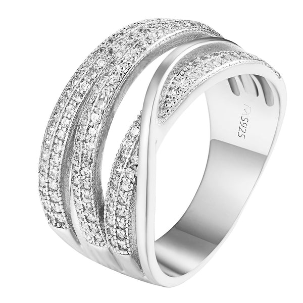Sterling Silver Wedding Ring Womens Infinity Style Simulated Diamond Engagement
