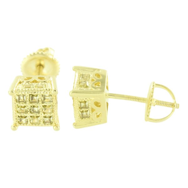 Yellow Gold Finish Square 3D Earrings Mens Womens