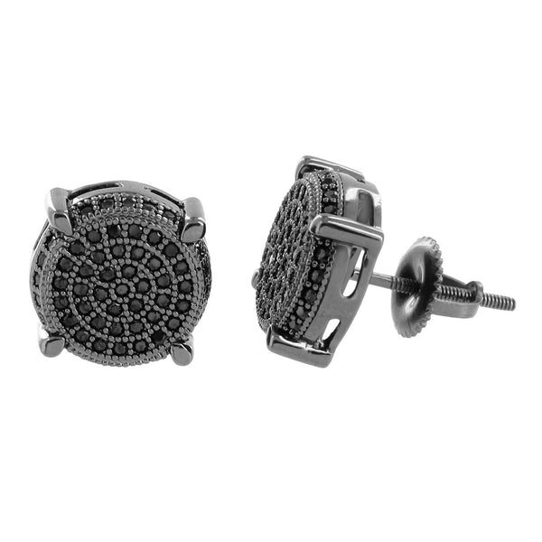 Black Lab Diamond Earrings Black PVD Round Screw Back Mens