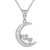 Sterling Silver Crescent Moon Solitaire Heart Pendant Set