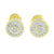 Round Prong Set Earrings Yellow Gold Finish Simulated Diamonds