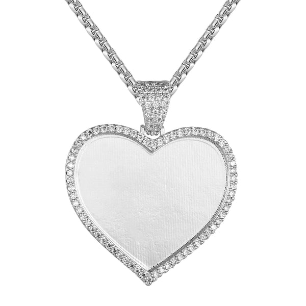 Silver Love Heart Shape Picture Memory Solitaire Pendant Chain