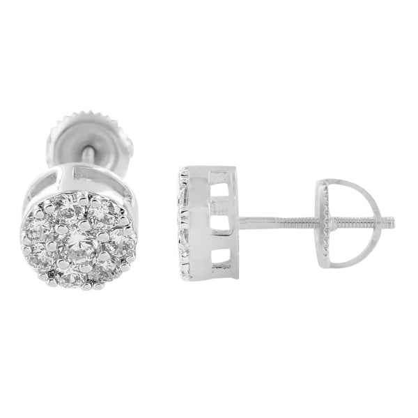 Round Mens White Gold Finish Screw Back Lab Diamond Earrings