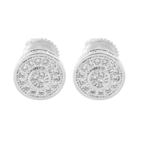 Round Shape Earrings Mens Studs Ladies White Screw Back