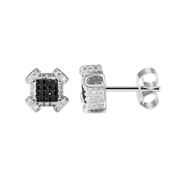 Black &White Sterling Silver Iced out Designer Square Shape Fancy Earrings
