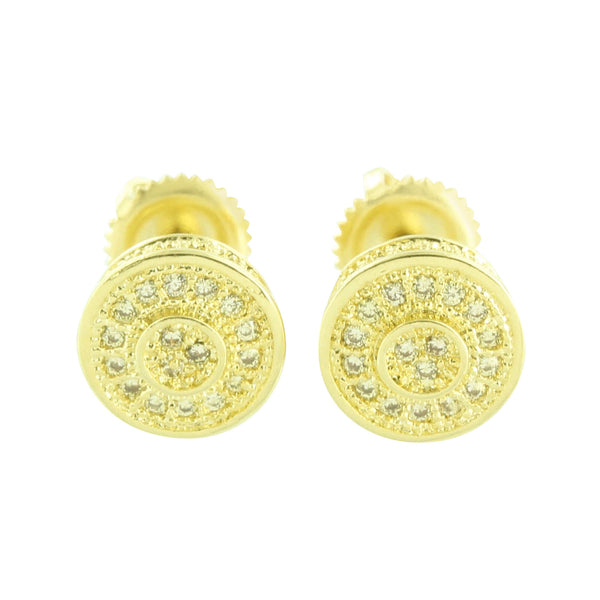 Canary Simulated Diamond Earrings Round Shape Screw Back Pierced