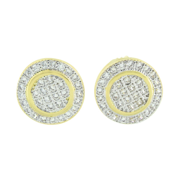 Round Shape Earrings Screw Back Simulated Diamonds Mens Womens