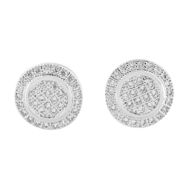 Round Design White Earrings Screw Back 11 MM Simulated CZ