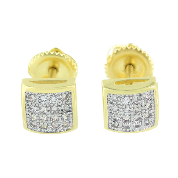 Mens Earrings Lab Diamonds 14K Gold Finish Lab Diamonds Dome Style Convex 7 MM