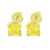Canary Princess Cut Earrings Gold Tone Studs Screw Back 2.0 CT Look